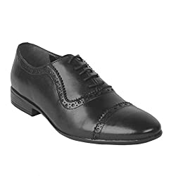 Salt N Pepper Zoop Black Real Leather Men Formal Shoes