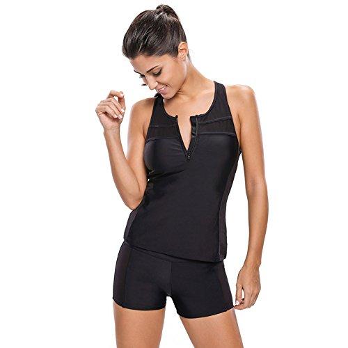 mode - bikini, schwarzes t - shirt, ärmellose weste, shorts, split - badeanzug xxl