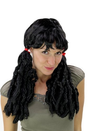 Perücke Wig Fasching Cosplay Spirallocken Kolonialzeit Schwarz (Kolonialzeit In Der Perücken)