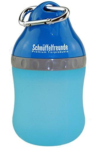 Schnüffelfreunde Trinkflasche für Hunde mit Edelstahl-Karabinerhaken | Deckel der Wasserflasche unterwegs als Wassernapf nutzbar, 400ml, blau, für große und kleine Hunde