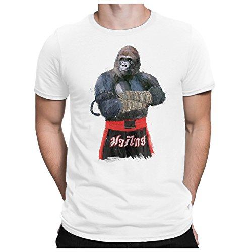 PAPAYANA - Gorilla Fighter - Herren Fun T-Shirt Bedruckt Kampfsport Muay Thai Boxer - XL - Weiß - Herren Fun Print Boxer