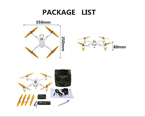 Hubsan H501S X4 Brushless FPV GPS Quadrocopter 5.8 Ghz Drohne mit 1080P Full HD Kamera und Follow-Me Modus RTH-Funktion Weiß&Gold - 8