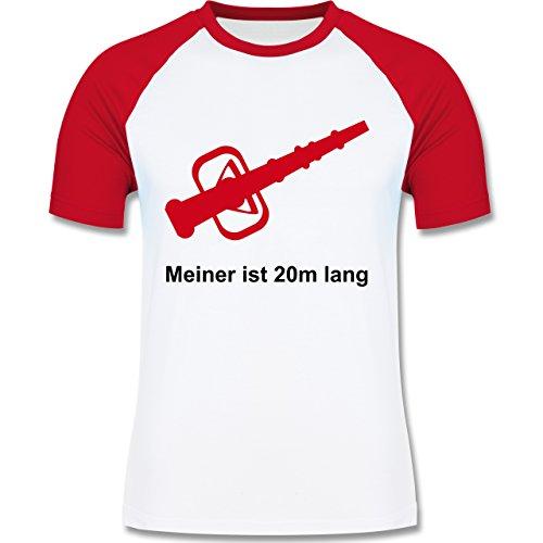 Feuerwehr - Meiner ist 20cm lang - zweifarbiges Baseballshirt für Männer Weiß/Rot