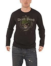 Five Finger Death Punch T Shirt Warhead Official Mens Black Long Sleeve