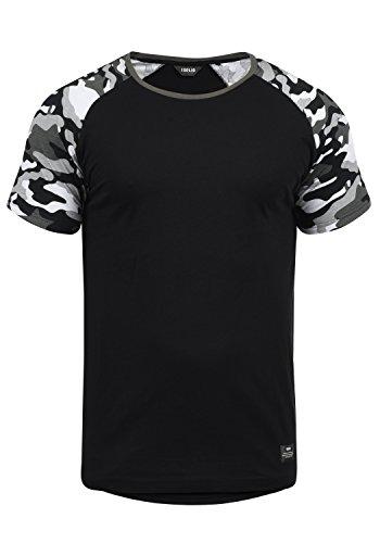 !Solid Cahil Herren T-Shirt Kurzarm Shirt Mit Rundhalsausschnitt Und Camouflage-Muster, Größe:XXL, Farbe:Black Grey (G9000) - Lässiges Herren T-shirt