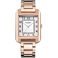 Blenheim London® B3180 Curve Rose Watch White Arabic Numeral with Sliver Hands with Stainless Steel Strap