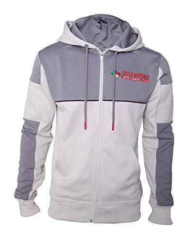 Meroncourt Herren Kapuzenpullover Nintendo Men's SNES Full Length Zipper Hoodie, Grey, XX-Large