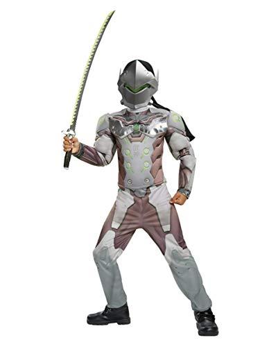 Horror-Shop Overwatch Genji Kinder Muskel-Kostüm für Comic Con & Fasching - Cyborg Kostüm Zubehör