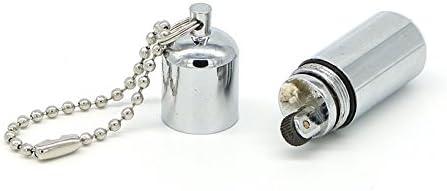 Tegoni Waterproof Fire Starter Capsule Oil Petrol Gas Lighter Keychain (Silver, 122)