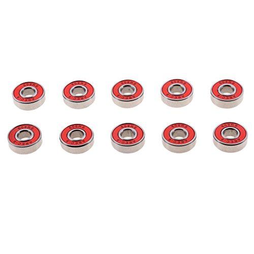 Sharplace 10 Stk. Wheels (8.5 x 21.5 x 7 mm) Rollen Mini Board Longboard Skateboard Ersatzrollen für ABEC-9 608RS Kugellager - rot -