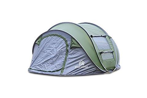 Star Home Bateau tentes Tente de randonnée en plein air Camping Randonnée tentes For4personne Abri Soleil léger Plage ombrage tentes tentes Tente familiale automatique tentes, taille: 280L * 200W * 120hcm, vert militaire
