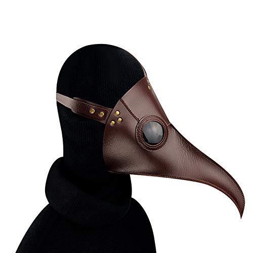 Urheberrecht Kostüm - GADS Brauner Seuchenvogel Doctor Seuchenarzt Maske, Halloween Steampunk Seuchenmaske, Langnasen Cosplay Kostüm Requisiten, Erwachsene Und Kinder, Metall Leder