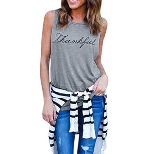 ❤️• •❤️Blusen Tops Luckycat Heißer Verkauf Mode Damen Shirts Blusen Tops Crop Tops Weste Print Brief Sleeveless Tank Tops Bluse T-Shirt Shirts Blusen Tops (Grau, XL)