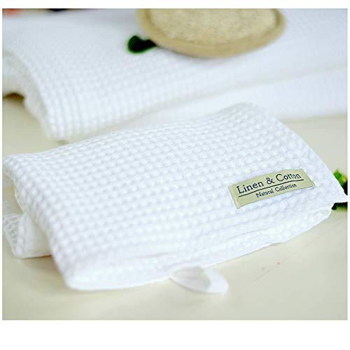 Linen & cotton, puro cotone asciugamano in bianco, 100% cotone (35 x 50cm)