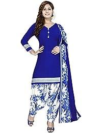 Raghavjee Sarees Women's Printed Unstitched Patiala Crepe Georgette Suit Salwar Suit Material