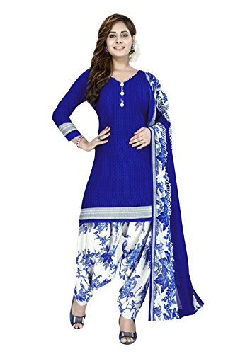 Raghavjee Sarees Women's Crepe Georgette Dress Material (Rjlcx6072_Royal Blue_Free Size)