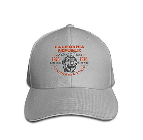 Vintage Trend Printing Cowboy Hat Fashion Baseball Cap for Men and Women California Republic Vintage Typography Grizzly Bear Print Graph Gray