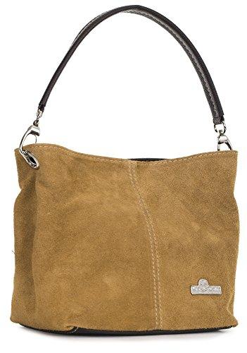 Leicht Wildleder LiaTalia gebräunt Demi italienische mit Hobo Einzelriemen echte Schutztasche Mini Nietentasche 44vwq1Wg