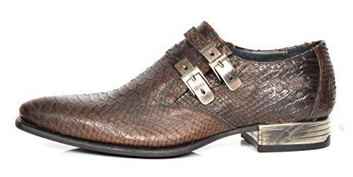 House of Luggage New Rock Hommes Mocassins Formels Intelligents Sangle de Moine Chaussures en Cuir Véritable à Enfiler Marron Serpent