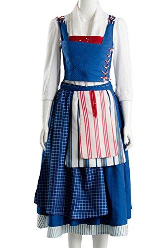 Sidnor Die Schöne und Das Biest Cosplay Kostüm Belle Kleid Ballkleid Party Kleid Kleid Kleid Outfit, Unisex-Erwachsene, blau, Small (Belle Kostüm Blau)