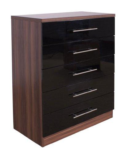 hilton-black-walnut-chest-of-5-drawers-super-hi-quality-gloss