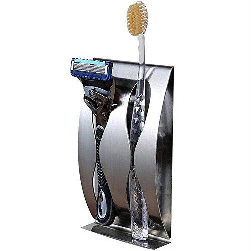 BeiLan Zahnbürstenhalter Wand befestigte Zahnpasta-Halter-Paste Stick-on Edelstahl Rasierrasiermesser Stand mit Durable Self Adhesive Stick-on für Bad-Accessoires Küche Organizer (2 Löcher) -