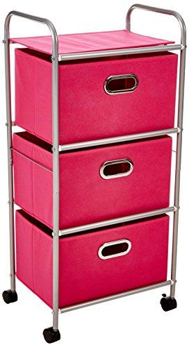 Honey-Can-Do CRT-02348 Rollwagen mit 3Schubfächern, rosa, Stoff, Pink, 10,16 x 31,11502 x 45,08501 cm (Rosa Rollwagen)
