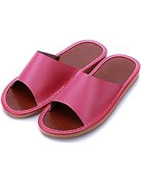 mhgao Ladies Casual de piel sintética zapatillas en otoño y invierno la interior cálido algodón Zapatillas, 3, Large