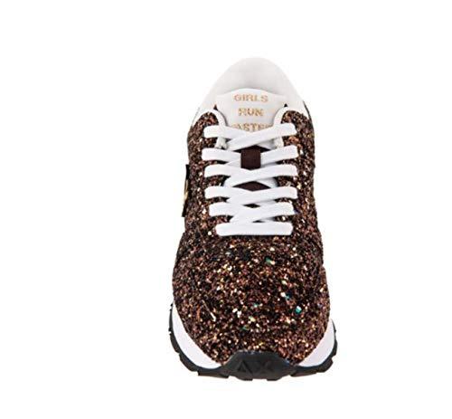 9bf842abcb90b SUN Scarpe Donna Sneakers Geox 68 in Pelle glitterata Marrone Z28207-MARRONE