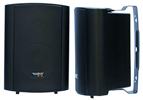 """E-Lektron EWL4P Stereo passiv Lautsprecher Paar inkl. Wandhalter für innen und außen - 4\"""" 100W - Schwarz"""
