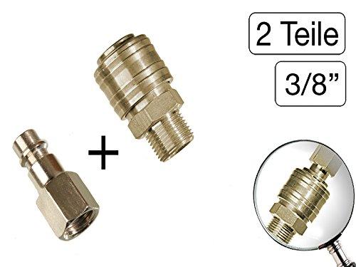 2 teiliges Set Druckluft Kupplung + Stecknippel 3/8\' BSP Gewinde Stahl