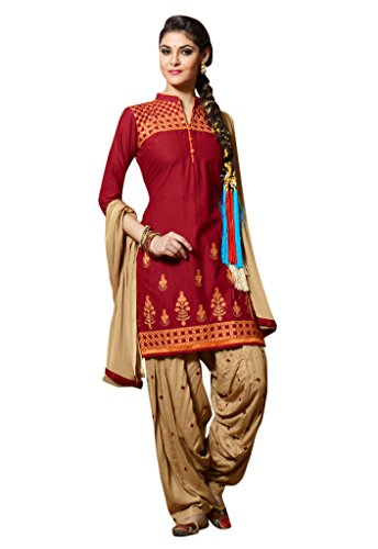 Kvsfab Maroon & Beige Cambric Cotton Embroiderd Patiala Readymade Suit