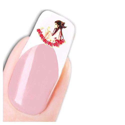 Just Fox - Stickers pour ongles Nail art autocollants pour le Japon Manga Fleurs Flower Water Decal