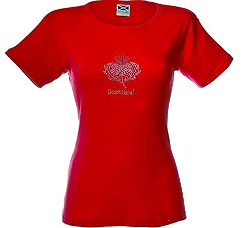 Ladies T-Shirt Thistle Flower Glitter on Red Size Large