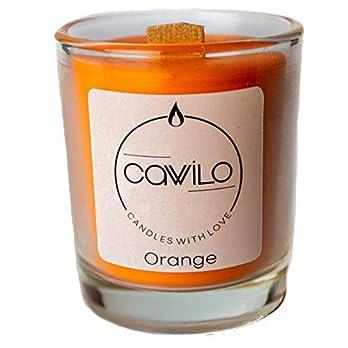 Cawilo Orange – Sojawachskerze mit Holzdocht