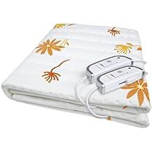 Medisana HU-660 - Calienta camas eléctrico, para cama de matrimonio, color blanco estampado naranja