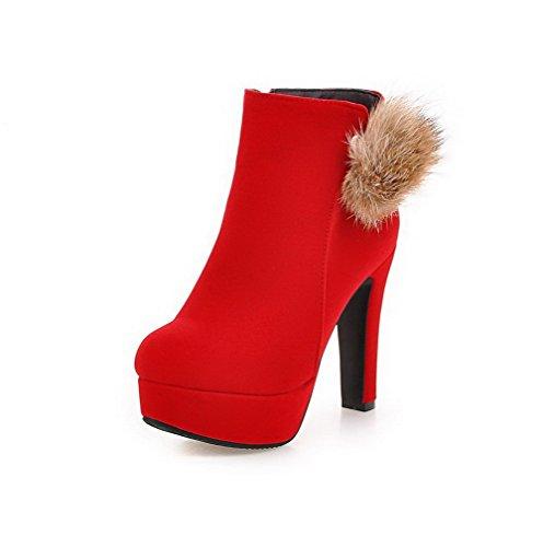 AgooLar Damen Mattglasbirne Reißverschluss Rund Zehe Niedrig-Spitze Stiefel, Rot, 36