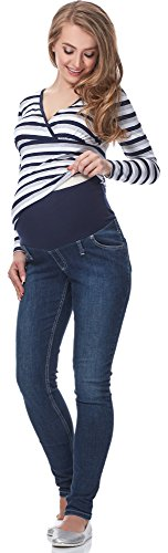 Be Mammy Premamá Pantalones Embarazada Verano Ropa de Maternidad Lactancia Mujer GX216 (Jeans, 31W/34L)