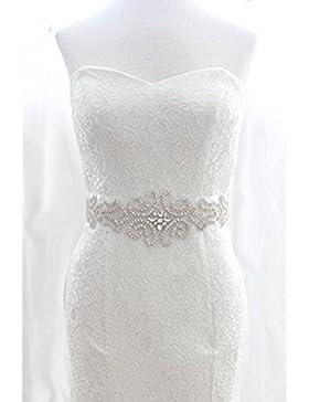 Faja para novia, color marfil Shinybeauty ~ Cinturón de boda, para novia, con perlas, fajín para novia, con cristales...