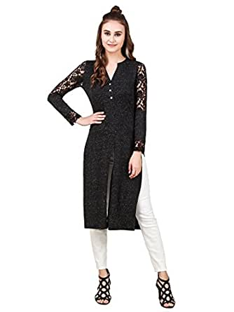 TEXCO Self Textured Front Button Placket Long-line Side Slit Women Maxi Top