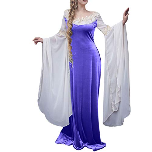 Lazzboy Frauen Mittelalterliches Feenhaftes Hülsen-Bodenlanges Kleid Elven Damen Mittelalterliche Trompetenärmel Mittelalter Party Kostüm Maxikleid(Lila,M) (Baby Genie Kostüm)