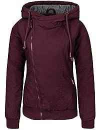 Sublevel Damen Winterjacke mit Kapuze | Gefütterte Jacke in Grau und Blau im Melange Look