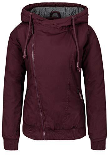 Sublevel Damen Winterjacke mit Kapuze im Melange Look Dark-red S