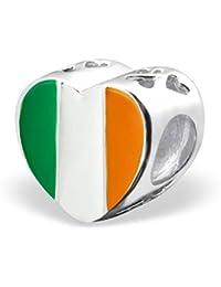 So Chic Joyas - Abalorio Charm Bandera irlandesa - Compatible con Pandora, Trollbeads, Chamilia, Biagi - Plata 925