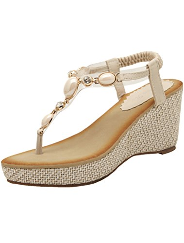 MatchLife Femmes Sandales Flip Flops Style5-Blanc cassé