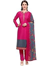 Kanchnar Crepe Pink, Grey Semi Stitched Printed, Thread, Zari and Stone Embroidery Dress Material
