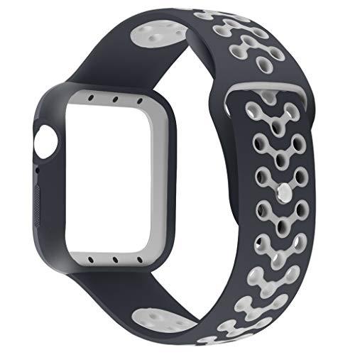 Vamoro Silikonarmband Uhrenarmband Handschlaufe Silikonband Ersatz Uhren-Armband Ersatzband für Apple Watch Serie 4 44mm(Grau)