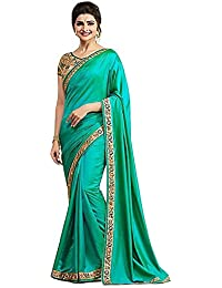 Welcome Fashion Women Paper Silk Saree With Blouse Piece (A12-sky1_Green_Free Size)