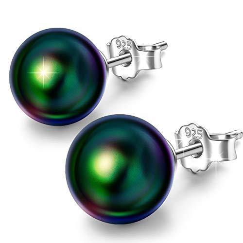 Infinite U, orecchini a perno in argento Sterling 925 con perla grigia, regalo di compleanno, festa della mamma, Natale e Argento, colore: Green, cod. E5556-green