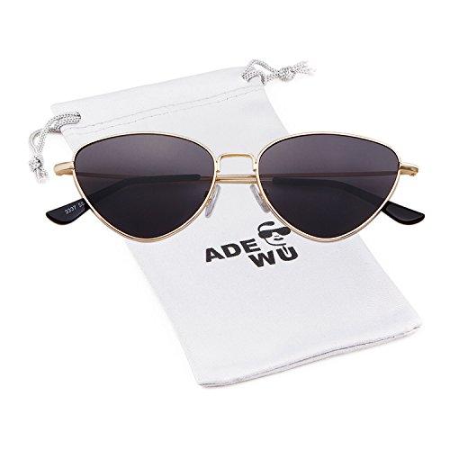 ADEWU Metallisch Sonnenbrille mit Oval Cat Eye Getönte Linse für Damen Frauen (Gold + Grau)